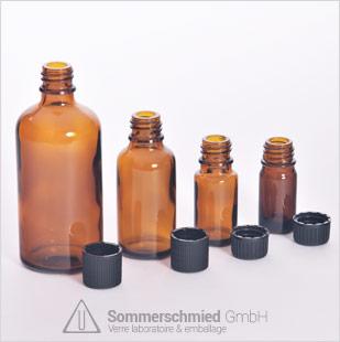 Bouteilles en verre soufflé, bouteilles médicales, bouteilles d'injection