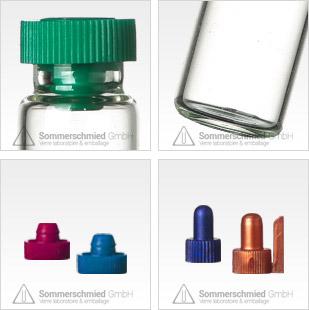 Tube à échantillon, petits verres, verre brun, verre transparents, ouchons hermétiques, bouchons à vis en plastique