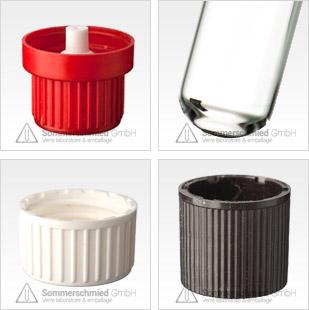 Tube avec capuchon à visser, filetées standards comme DIN 14 et DIN 18, bouchons filetés simples capuchons filetés avec insert goutte et insert septum