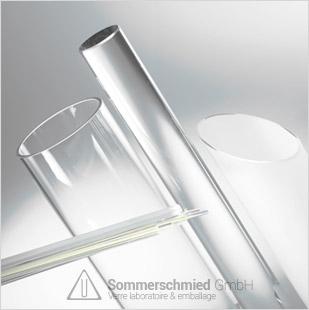 Tube en verre et bâton en verre, verre borosilicate, verre soude-calcaire